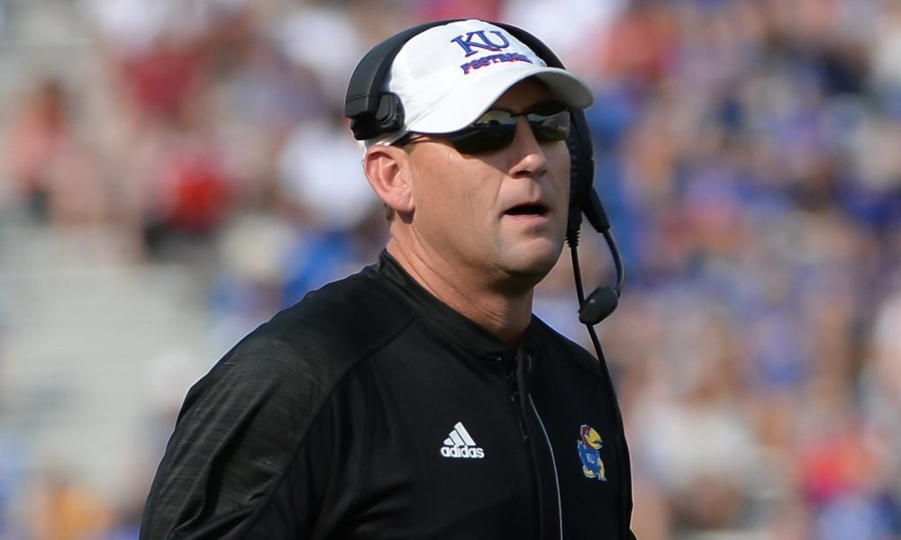 Kansas Coach David Beaty, WVU vs Kansas football