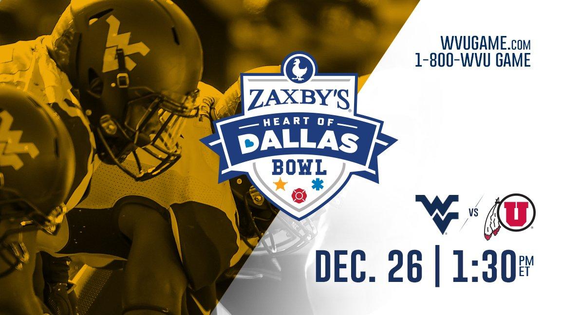 WVU Headed To Heart Of Dallas Bowl, Utah Utes