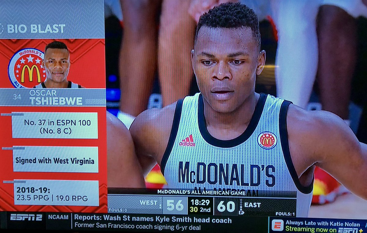 WVU-Bound Oscar Tshiebwe Notches Double-Double in McDonald's All-American Game